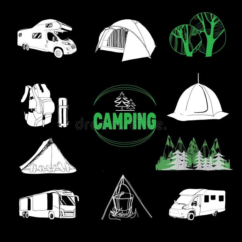 Εικονίδια στρατόπεδων και γραφική παράσταση λογότυπων, γραμματόσημα, τυπωμένες ύλες, ετικέτες διανυσματική απεικόνιση