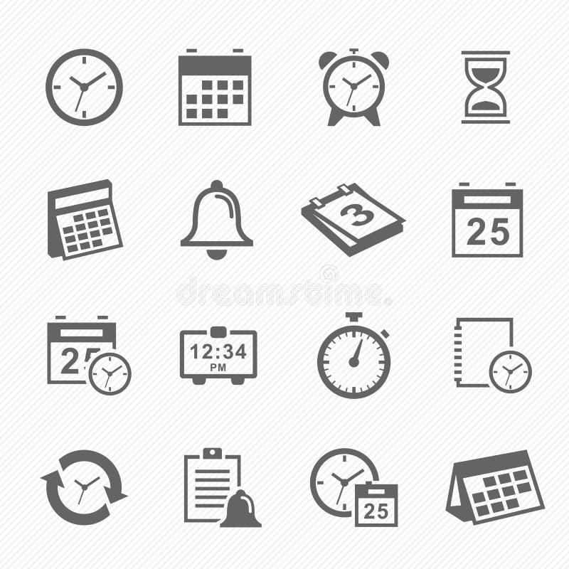 Εικονίδια συμβόλων κτυπήματος χρόνου και σχεδίου καθορισμένα ελεύθερη απεικόνιση δικαιώματος