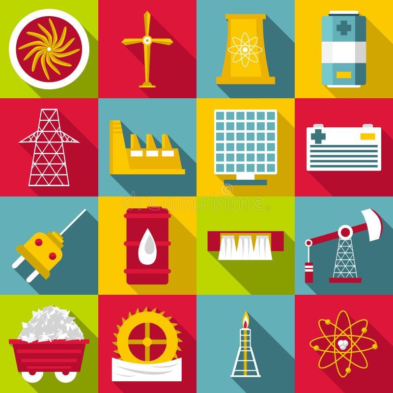 Εικονίδια συμβόλων πηγών ενέργειας καθορισμένα, επίπεδο ύφος ελεύθερη απεικόνιση δικαιώματος