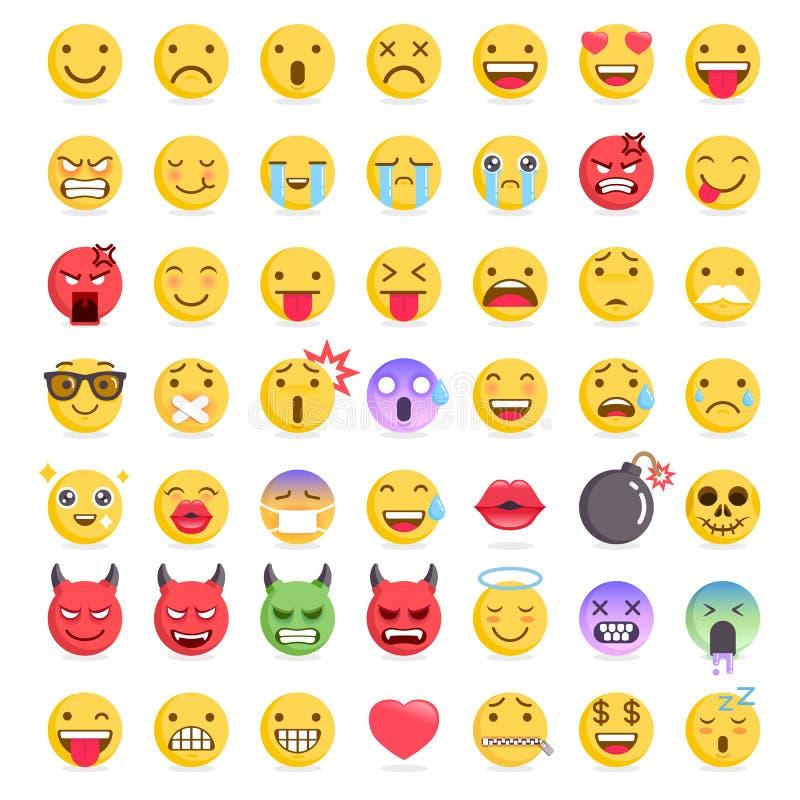 Εικονίδια συμβόλων Emoji emoticons καθορισμένα ελεύθερη απεικόνιση δικαιώματος