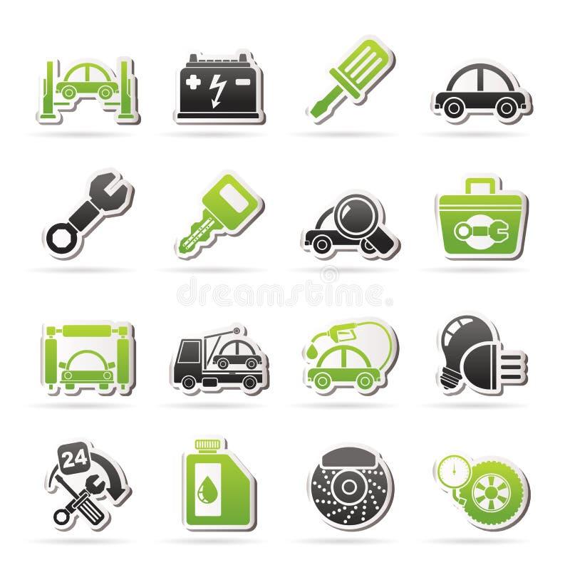 Εικονίδια συντήρησης υπηρεσιών αυτοκινήτων διανυσματική απεικόνιση