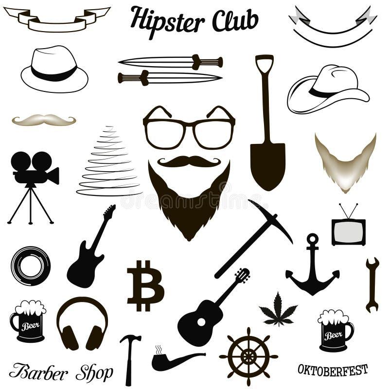 Εικονίδια συνόλου hipster διανυσματική απεικόνιση