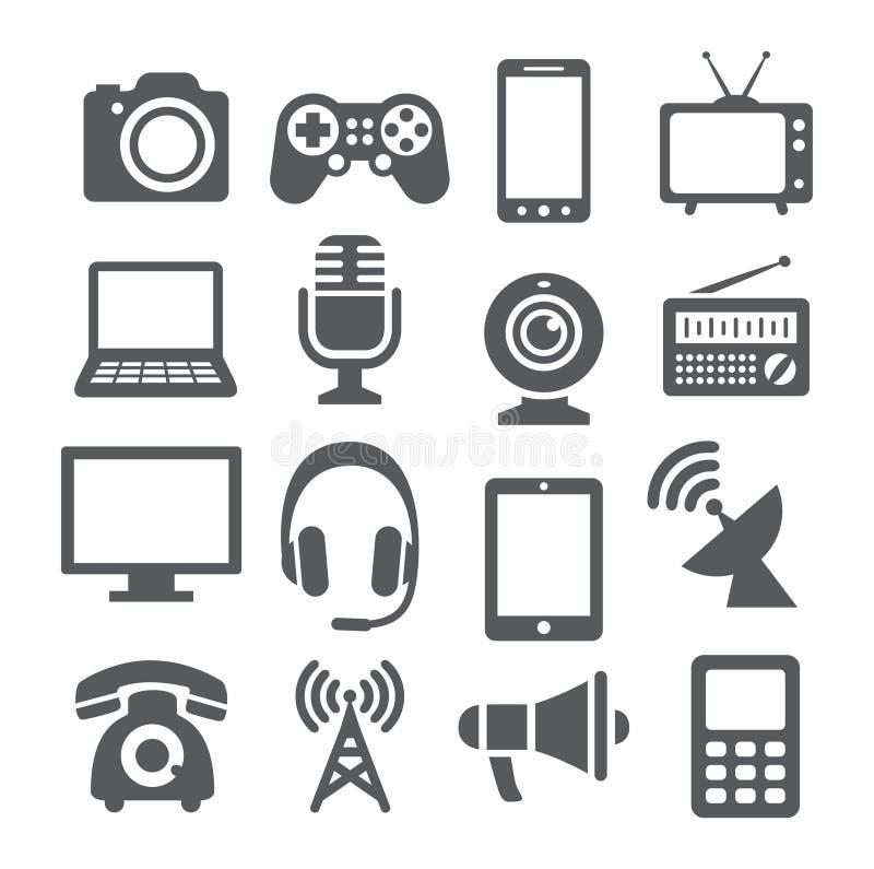 Εικονίδια συσκευών επικοινωνίας διανυσματική απεικόνιση