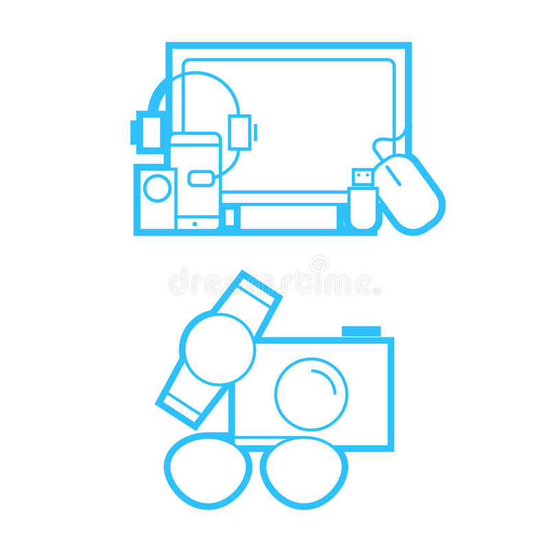 Εικονίδια συσκευών και τεχνολογίας καθορισμένα ελεύθερη απεικόνιση δικαιώματος