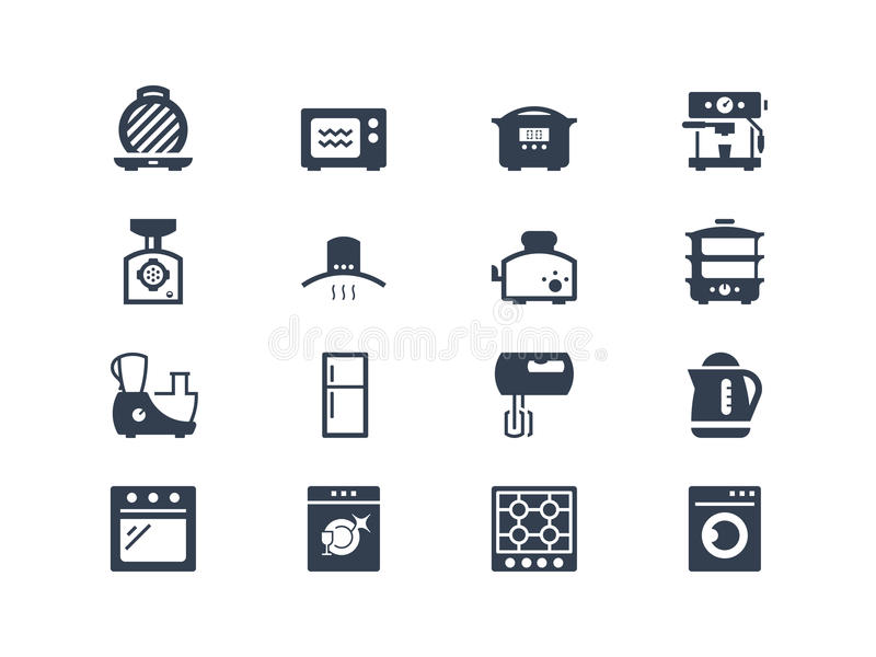 Εικονίδια συσκευών κουζινών ελεύθερη απεικόνιση δικαιώματος