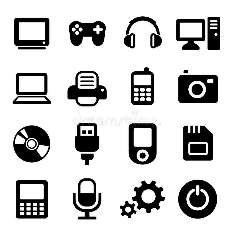 Εικονίδια συσκευών πολυμέσων καθορισμένα ελεύθερη απεικόνιση δικαιώματος