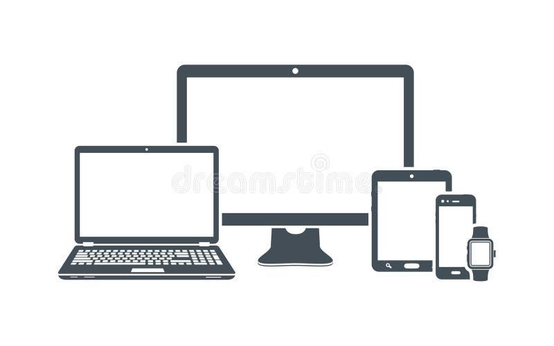 Εικονίδια συσκευών: υπολογιστής γραφείου, lap-top, έξυπνο τηλέφωνο, ταμπλέτα και έξυπνο ρολόι ελεύθερη απεικόνιση δικαιώματος