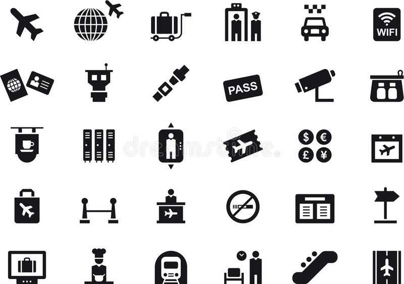 Εικονίδια σχετικά με τους αερολιμένες και το ταξίδι διανυσματική απεικόνιση