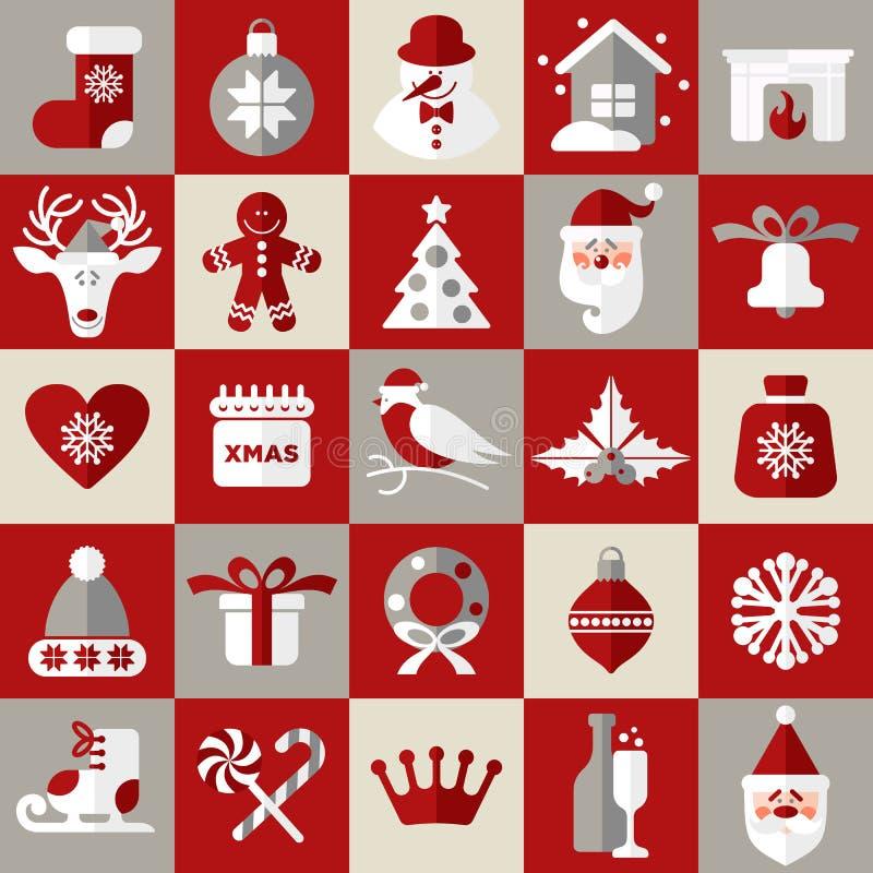 Εικονίδια σχεδίου Χριστουγέννων καθορισμένα κάρτα καλή χρονιά διανυσματική απεικόνιση