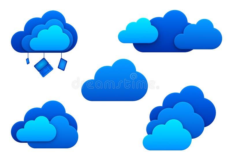 Εικονίδια σύννεφων. Απομονωμένος. Έννοια ιδέας υπολογισμού σύννεφων. ελεύθερη απεικόνιση δικαιώματος