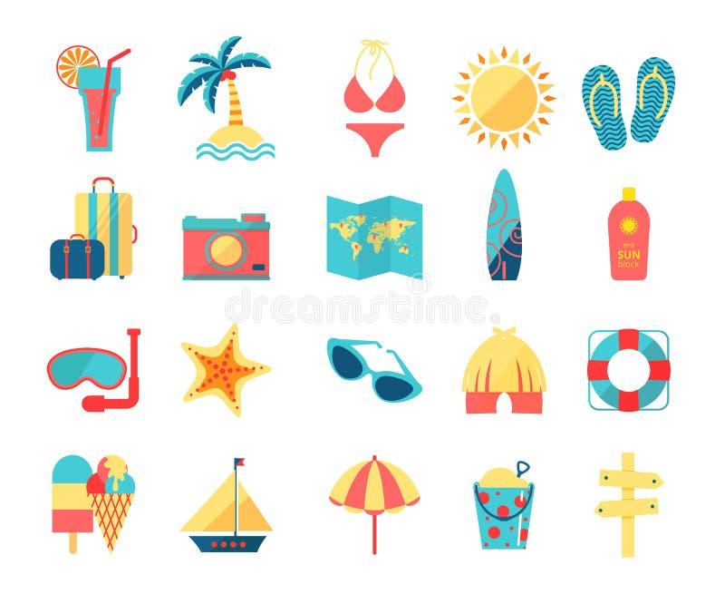 Εικονίδια ταξιδιού και τουρισμού καθορισμένα διανυσματική απεικόνιση