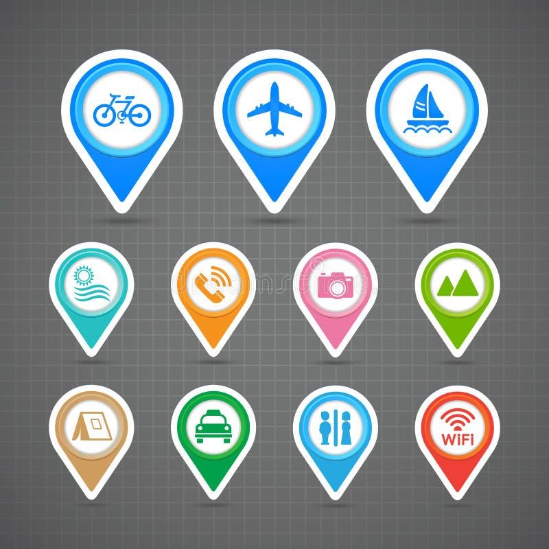 Εικονίδια ταξιδιού καρφιτσών χαρτών καθορισμένα απεικόνιση αποθεμάτων