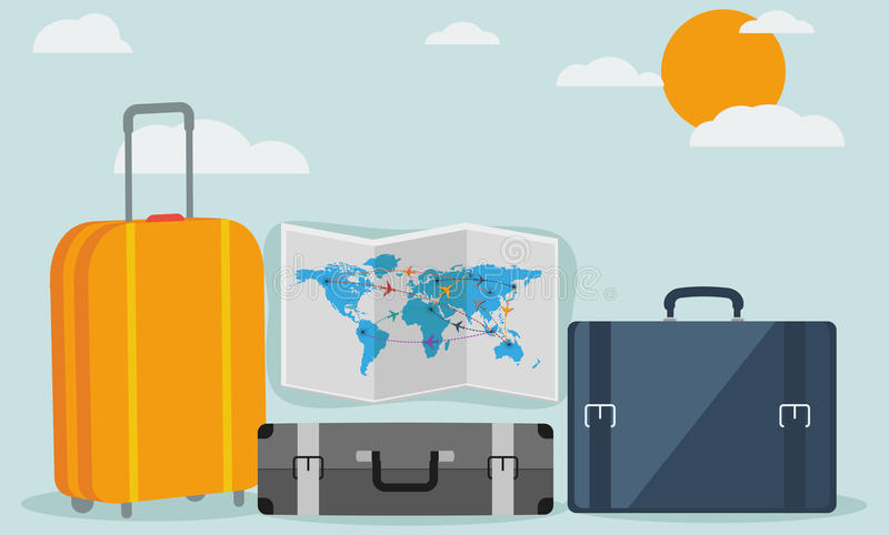 Εικονίδια ταξιδιού που απομονώνονται στο μοντέρνο υπόβαθρο απεικόνιση αποθεμάτων