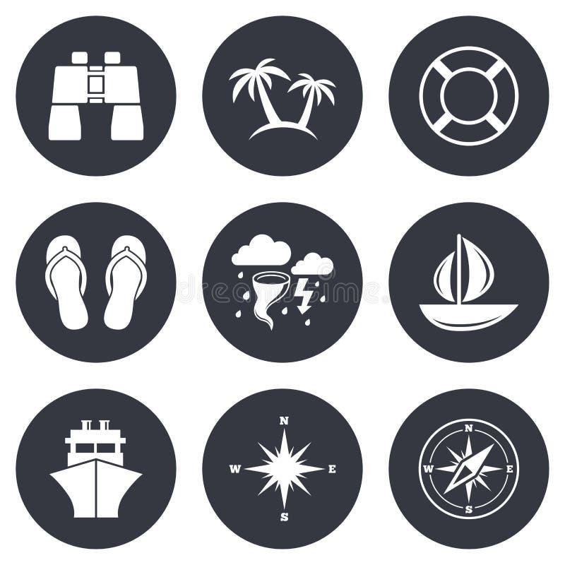Εικονίδια ταξιδιού, σκαφών και γιοτ κρουαζιέρας Σημάδια ταξιδιού διανυσματική απεικόνιση