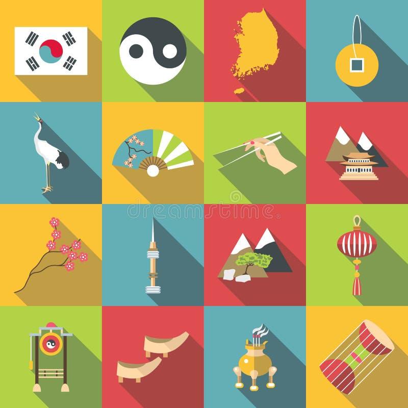 Εικονίδια ταξιδιού της Νότιας Κορέας καθορισμένα, επίπεδο ύφος απεικόνιση αποθεμάτων