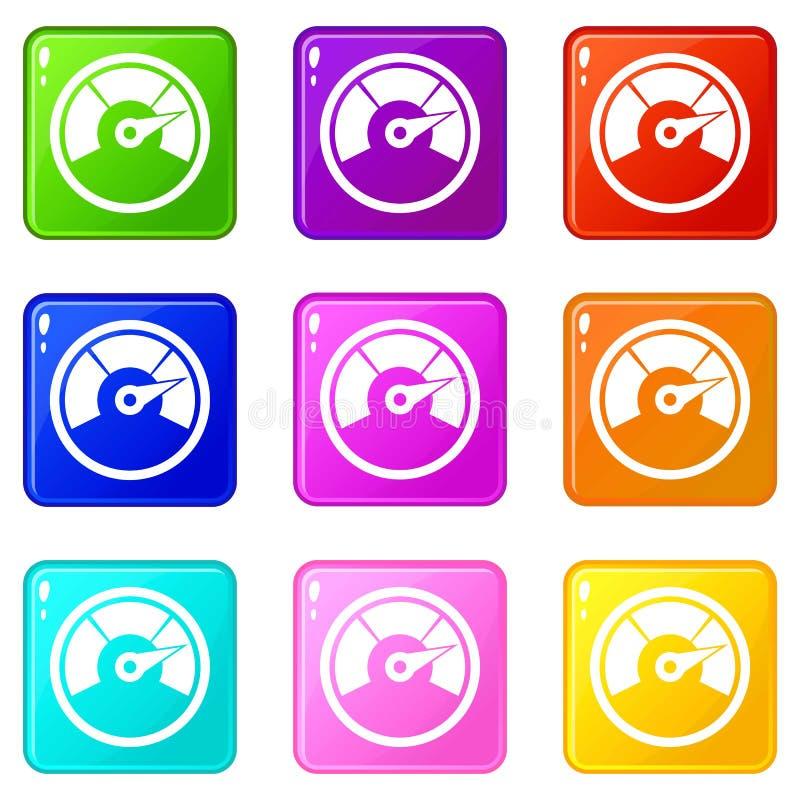Εικονίδια ταχυμέτρων 9 σύνολο ελεύθερη απεικόνιση δικαιώματος