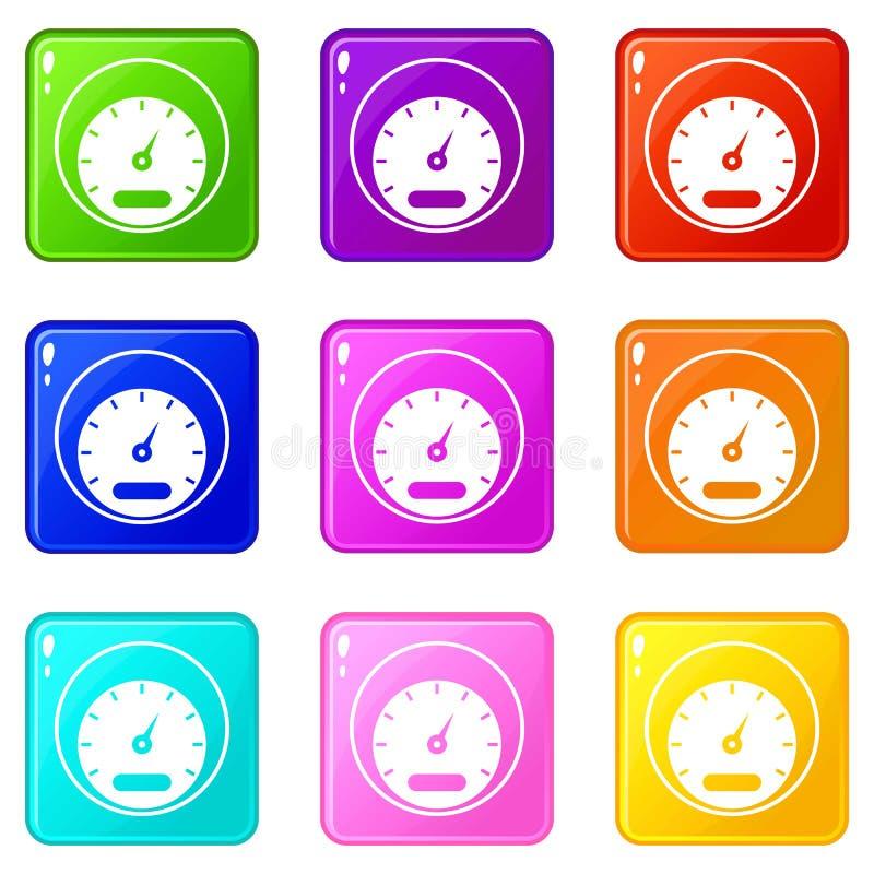 Εικονίδια ταχυμέτρων 9 σύνολο διανυσματική απεικόνιση