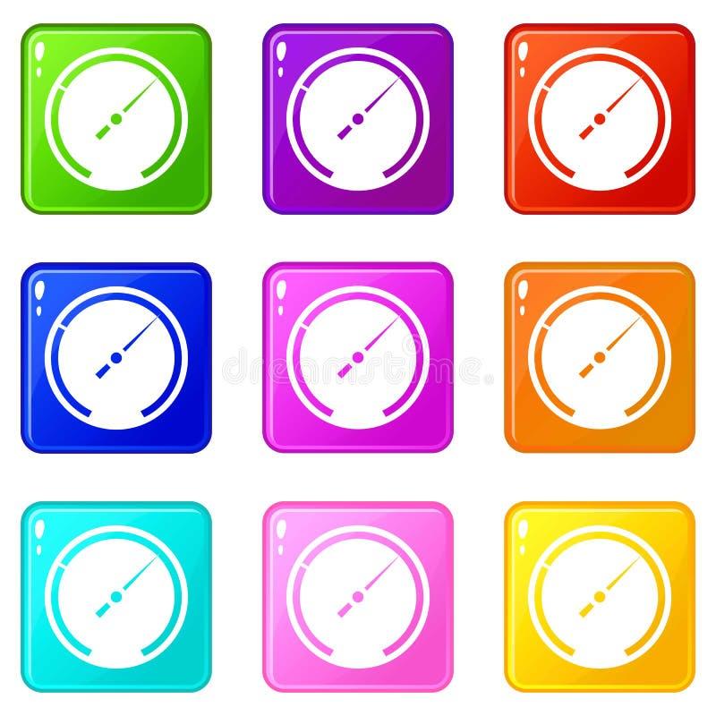 Εικονίδια ταχυμέτρων 9 σύνολο απεικόνιση αποθεμάτων