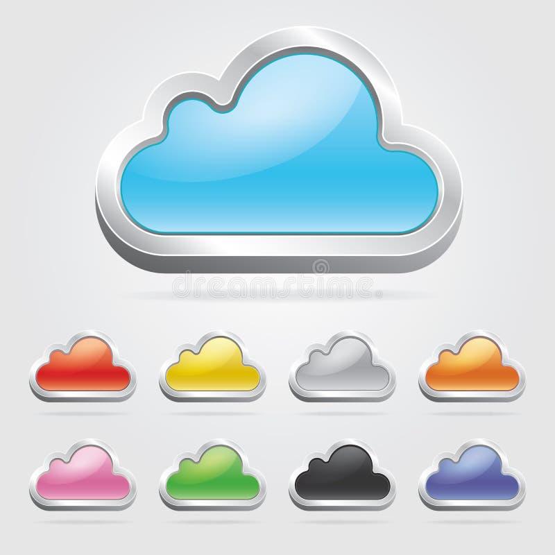 Εικονίδια τεχνολογίας σύννεφων καθορισμένα. ελεύθερη απεικόνιση δικαιώματος
