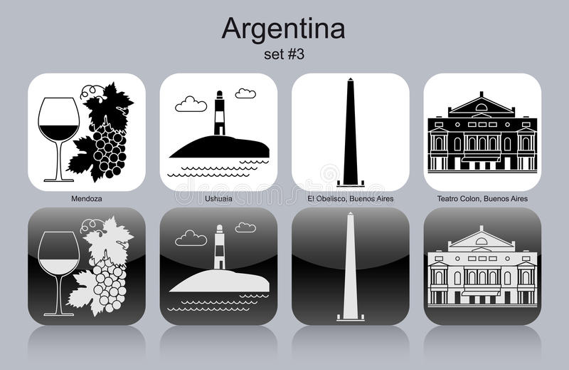 Εικονίδια της Αργεντινής διανυσματική απεικόνιση