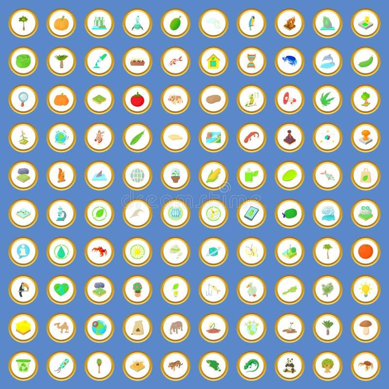 100 εικονίδια της βιολογίας καθορισμένα το διάνυσμα κινούμενων σχεδίων διανυσματική απεικόνιση