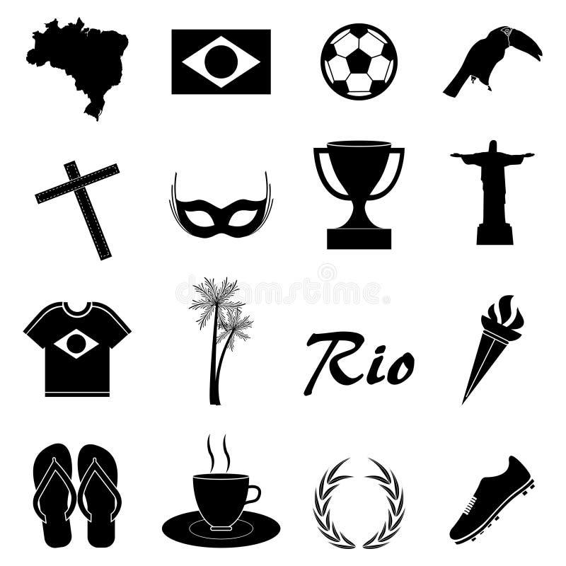 Εικονίδια της Βραζιλίας καθορισμένα απεικόνιση αποθεμάτων