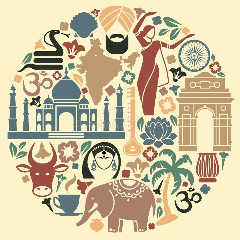 Εικονίδια της Ινδίας υπό μορφή κύκλου ελεύθερη απεικόνιση δικαιώματος