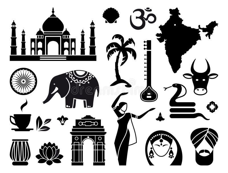 Εικονίδια της Ινδίας διανυσματική απεικόνιση
