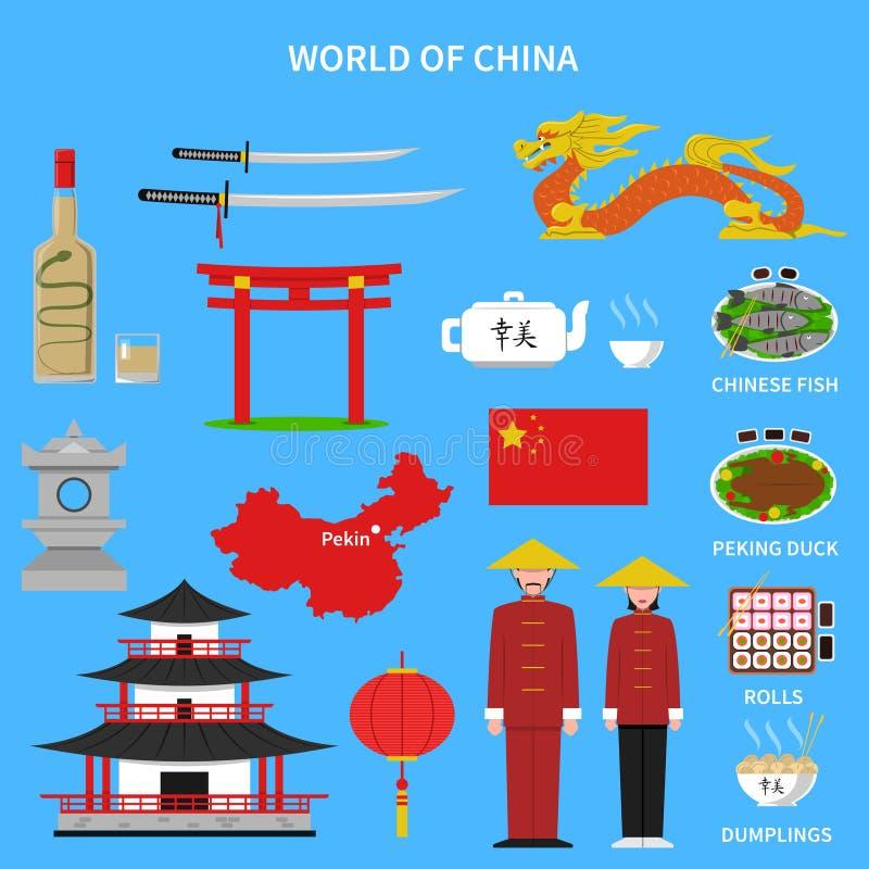 Εικονίδια της Κίνας καθορισμένα διανυσματική απεικόνιση