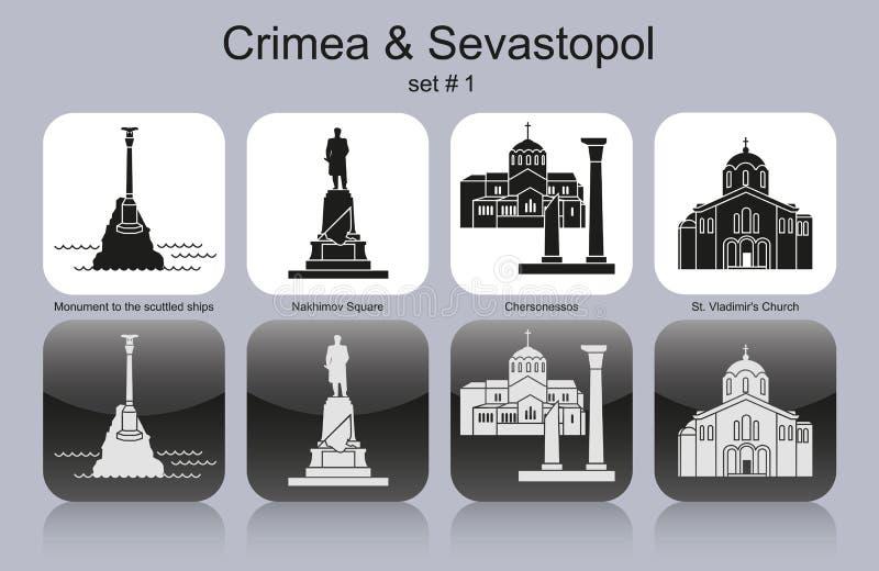 Εικονίδια της Κριμαίας & της Σεβαστούπολης απεικόνιση αποθεμάτων