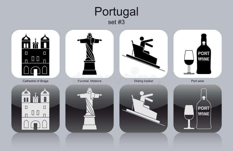 Εικονίδια της Πορτογαλίας διανυσματική απεικόνιση