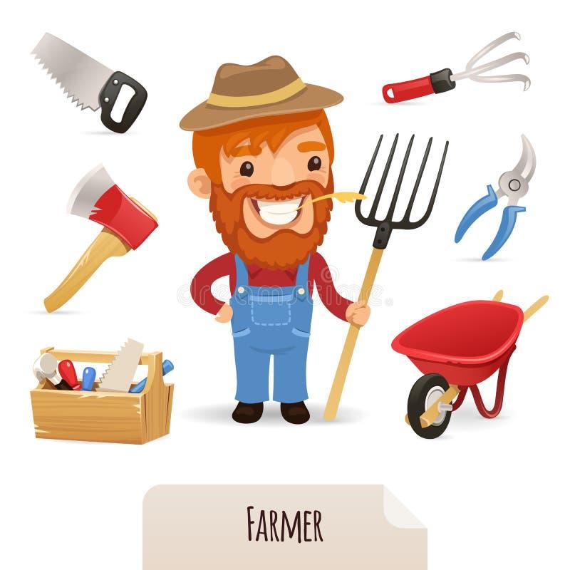 Εικονίδια της Farmer καθορισμένα διανυσματική απεικόνιση
