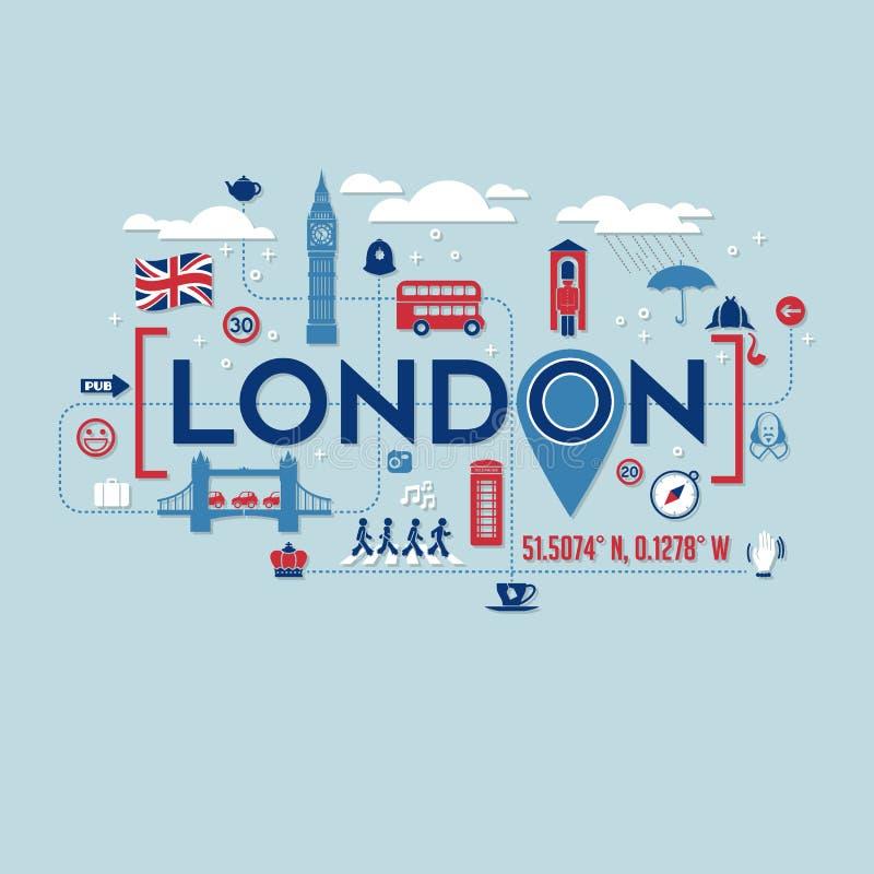 Εικονίδια του Λονδίνου Αγγλία και σχέδιο τυπογραφίας διανυσματική απεικόνιση