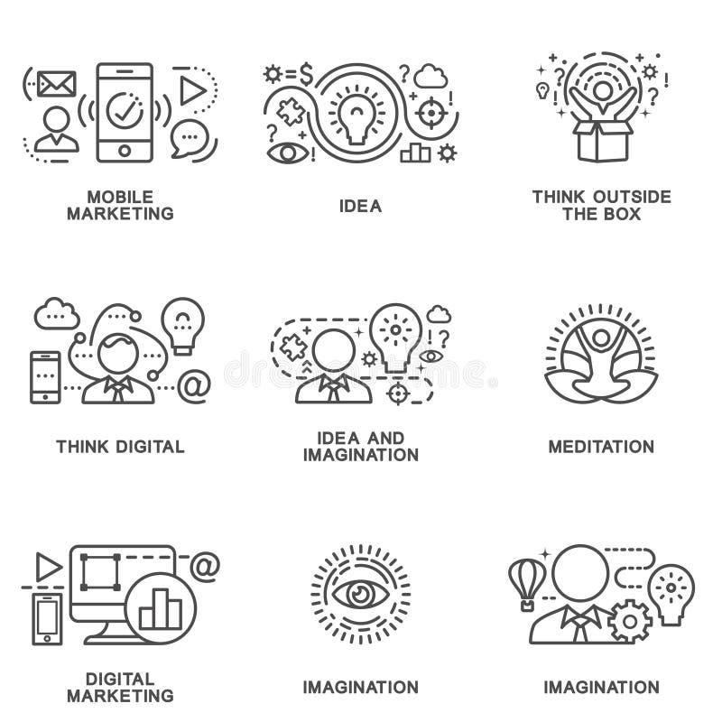 Εικονίδια του μάρκετινγκ και των νέων ιδεών στην ηλεκτρονική επιχείρηση διανυσματική απεικόνιση