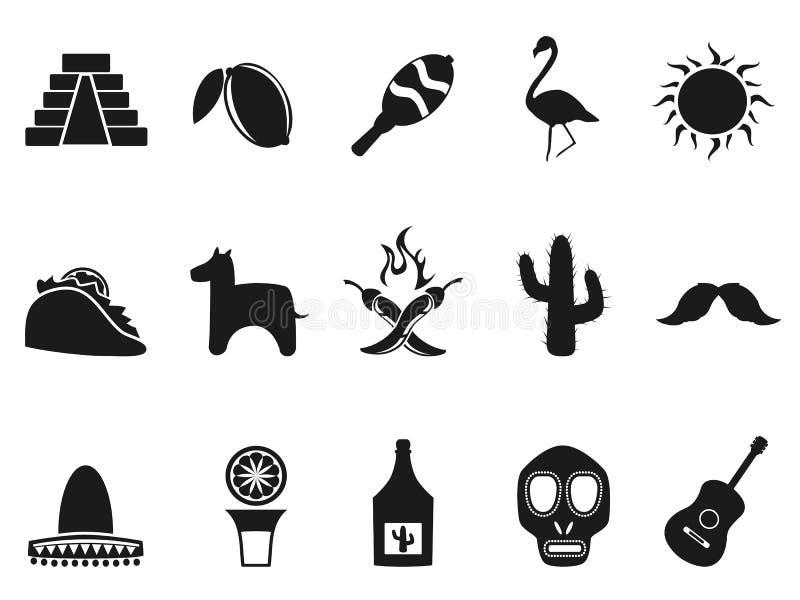 Εικονίδια του Μεξικού καθορισμένα διανυσματική απεικόνιση