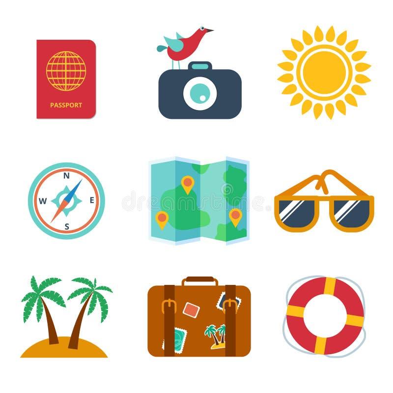 Εικονίδια του ταξιδιού, καλοκαίρι στο επίπεδο ύφος διανυσματική απεικόνιση