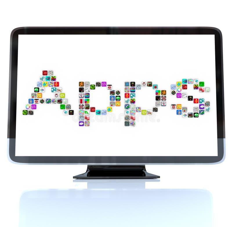 Εικονίδια του Word Apps στην τηλεοπτική οθόνη διανυσματική απεικόνιση