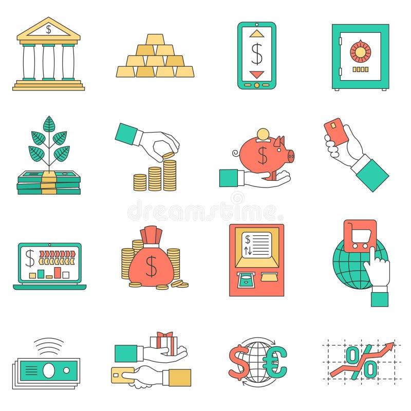 Εικονίδια τραπεζικών επιχειρήσεων καθορισμένα απεικόνιση αποθεμάτων