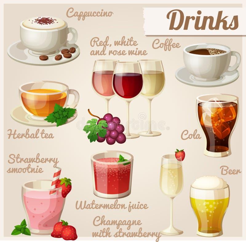 εικονίδια τροφίμων που τί&th ποτά απεικόνιση αποθεμάτων