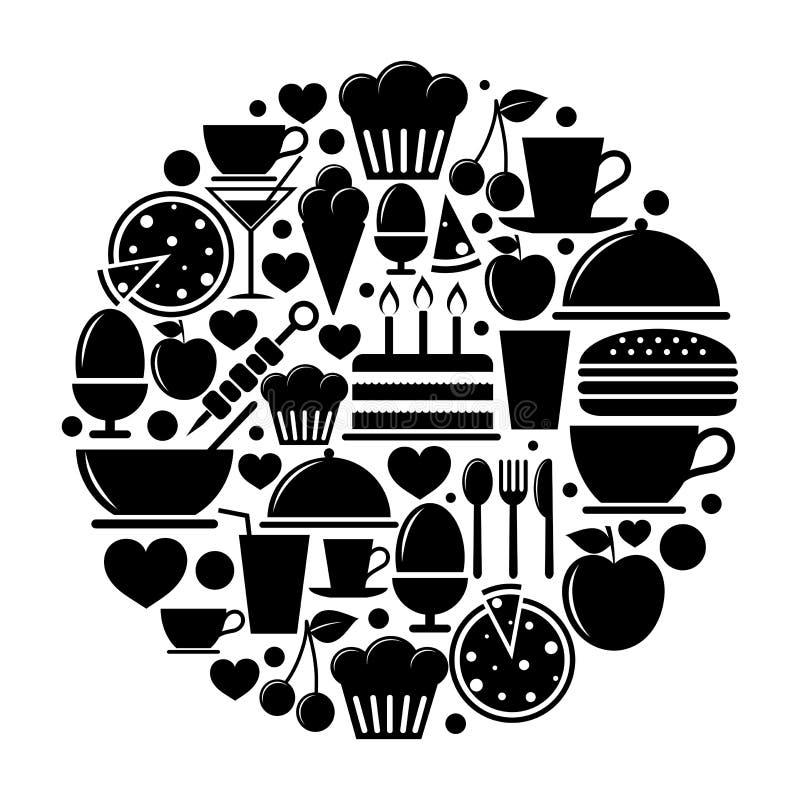 Εικονίδια τροφίμων στον κύκλο ελεύθερη απεικόνιση δικαιώματος