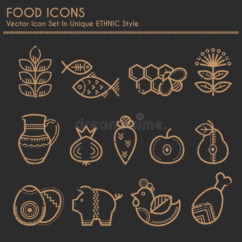 Εικονίδια τροφίμων στο γραμμικό εθνικό ύφος ελεύθερη απεικόνιση δικαιώματος