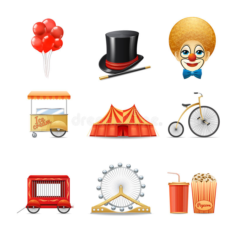 Εικονίδια τσίρκων καθορισμένα απεικόνιση αποθεμάτων