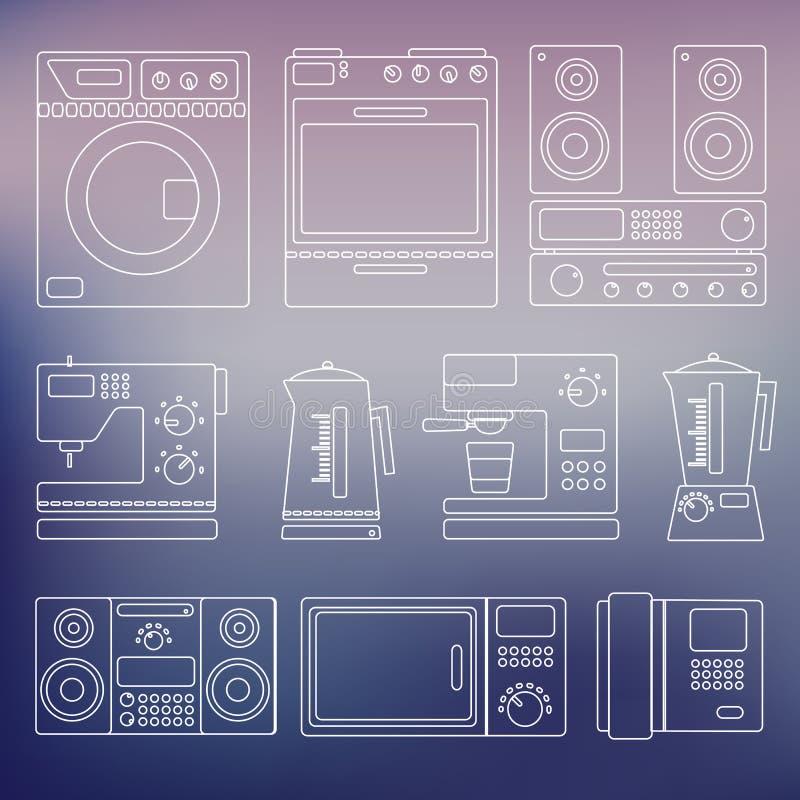Εικονίδια των εγχώριων συσκευών ελεύθερη απεικόνιση δικαιώματος