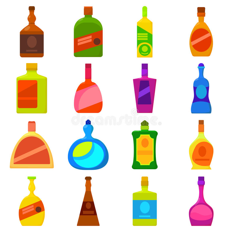 Εικονίδια τύπων μπουκαλιών καθορισμένα, ύφος κινούμενων σχεδίων διανυσματική απεικόνιση