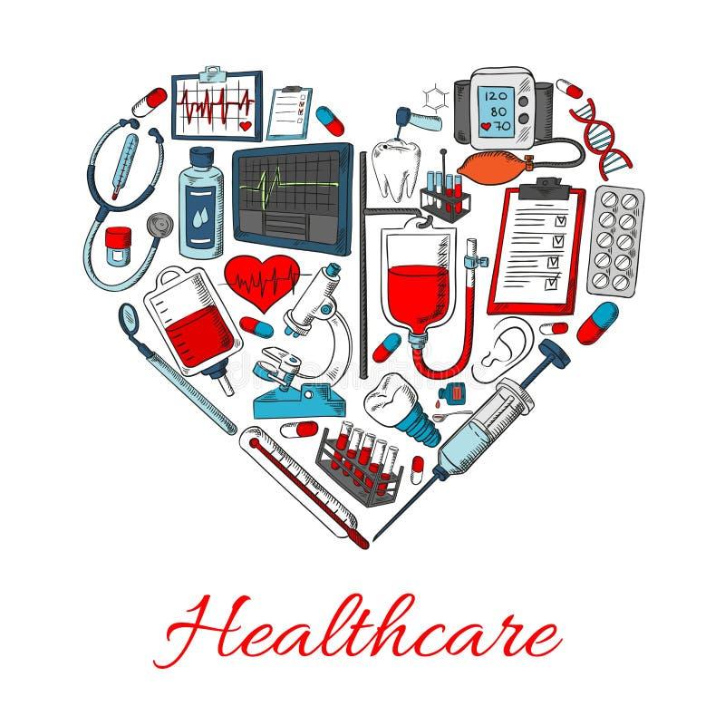 Εικονίδια υγειονομικής περίθαλψης στη μορφή της καρδιάς ελεύθερη απεικόνιση δικαιώματος