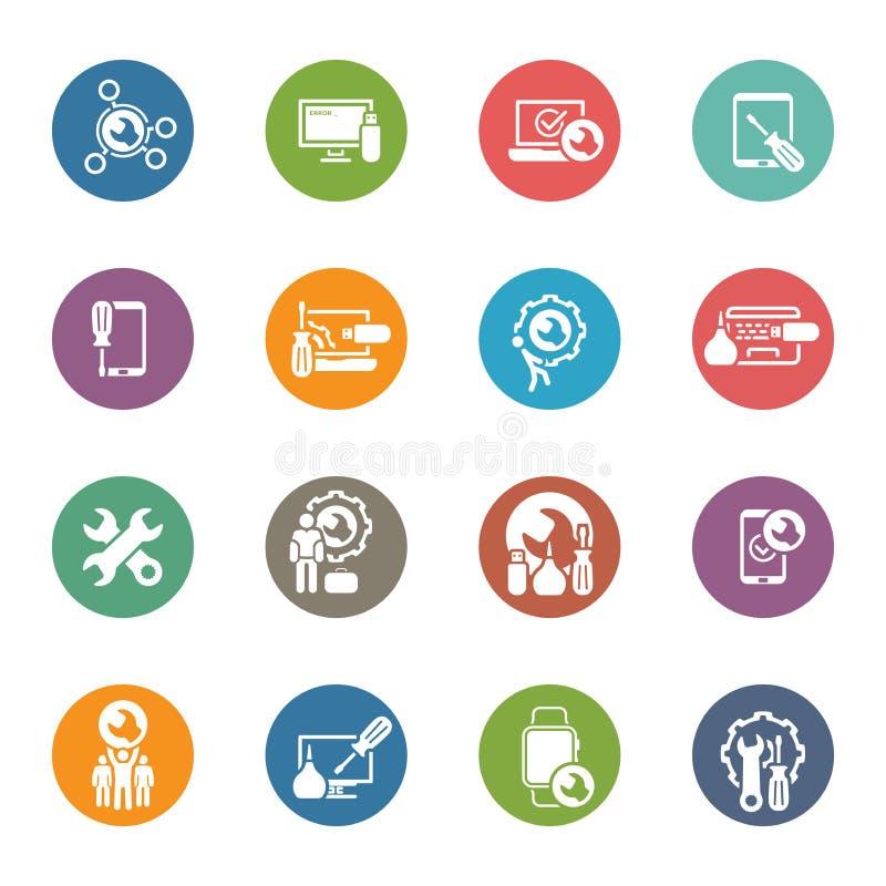 Εικονίδια υπηρεσιών και συντήρησης επισκευής καθορισμένα ελεύθερη απεικόνιση δικαιώματος
