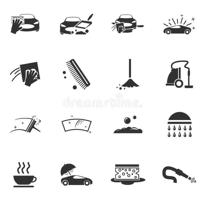 Εικονίδια υπηρεσιών ντους πλυσίματος αυτοκινήτων καθορισμένα στοκ φωτογραφίες