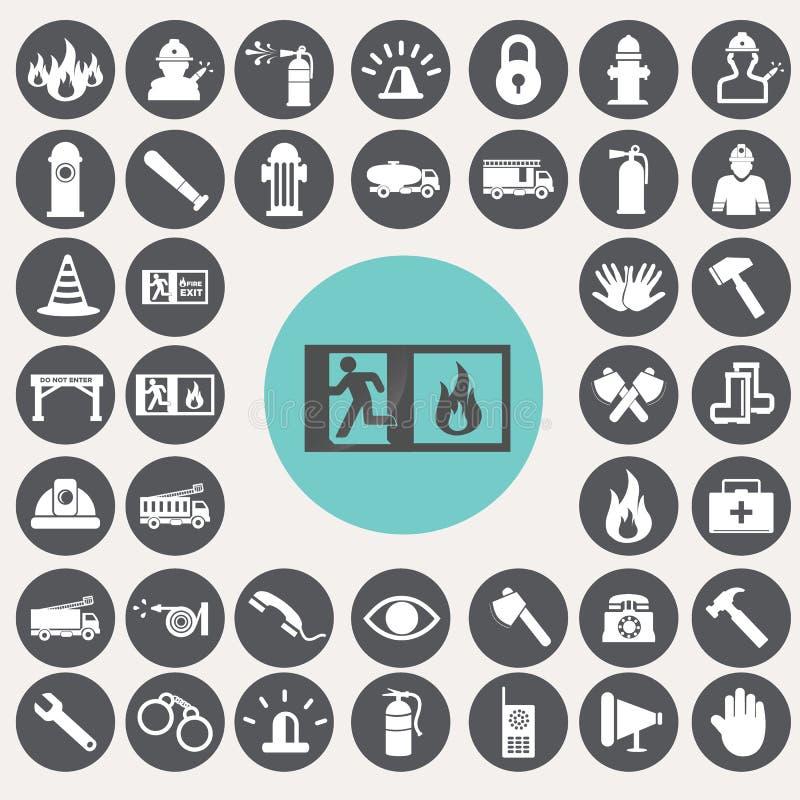 Εικονίδια υπηρεσιών πυρόσβεσης καθορισμένα ελεύθερη απεικόνιση δικαιώματος
