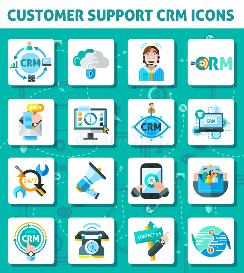 Εικονίδια υποστήριξης πελατών καθορισμένα ελεύθερη απεικόνιση δικαιώματος