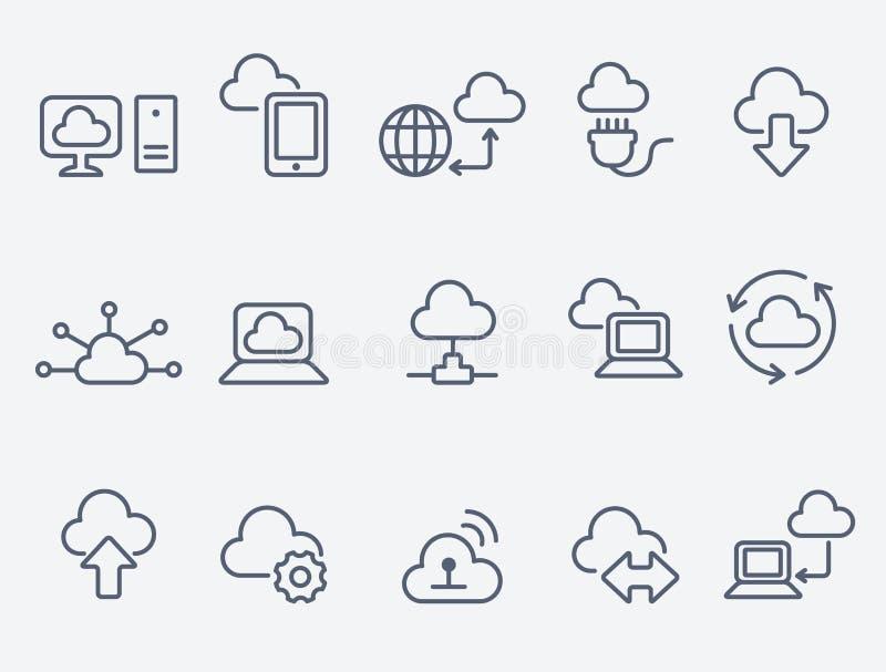 Εικονίδια υπολογισμού σύννεφων διανυσματική απεικόνιση
